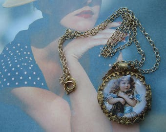 Vintage Glass Victorian Scene Girl With Cat Necklace