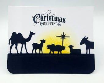 Merry Christmas Card/ Christmas Greeting Card/Manger/Nativity/Nativity Card/Baby Jesus Card/Holiday Card/Nativity Silhouette/Christmas