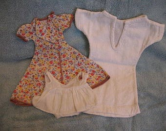1930's Doll Clothes - Vintage doll clothes - Eight Pieces plus underwear -  Dresses - Red Riding Hood Outfit - Housecoat