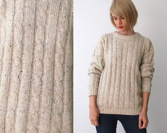 90s cream sweater. chunky cable knit sweater. wool sweater. unisex - large