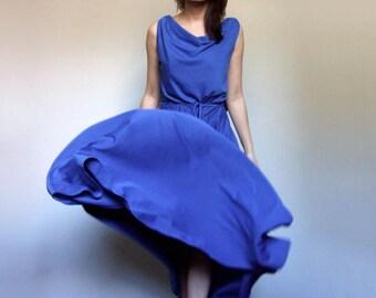 Vintage Dress Women Maxi Dress Long Summer Dress 70s Blue Dress Prom Cocktail Dress - Small to Medium S M