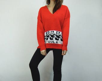 80s Oversized Sweater Hand Knit Red Jumper Vintage Novelty Print Panda Sweater - Medium to Large M L