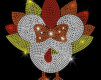 """SALE 8.2"""" clear Minnie Mouse Turkey iron on rhinestone transfer applique bling Thanksgiving patch"""