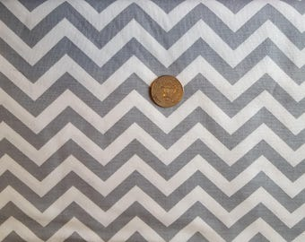 Gray and White Chevron 1/2 inch - By the Yard
