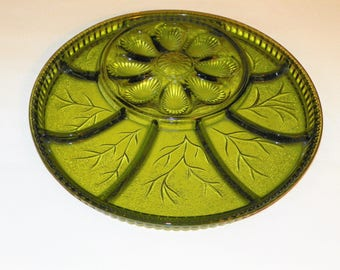 "Indiana Glass Divided Relish Dish Egg Tray, 12 7/8"" Round Tray, Pebble Leaf Olive Green Platter, Perfect for Cheese Cubes, Crackers,"