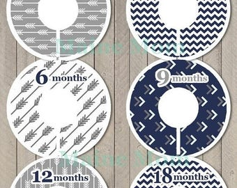 ON SALE 6 PRECUT Baby Closet Dividers Baby Shower Gift Arrow Chevron Tribal Nursery Decor Clothing Baby Clothes  Navy Gray Stocking Stuffer