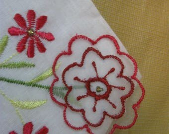 lovely 3D  red flowered hanky