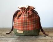 Knitting Bag, Project Bag, Drawstring Bag, Knitting Project Bag, Upcycled, Knitting Gift, Sock Bag, Makeup Bag, Toiletry Bag, Mothers Day