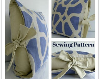 Tied Cushion Cover Sewing Pattern by Lillyblossom. Suitable for beginners, easy to make. No difficult zips. Stunning in linen