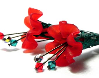 Lucite Trumpet Flower Earrings - Victorian red fluted Lily - Hand painted green Filigree Cone