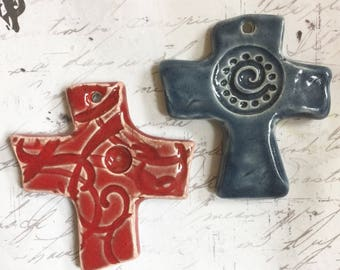 Ceramic Pottery Cross Pendant in Red by Clay Designs by glee Religious Ceramic Cross
