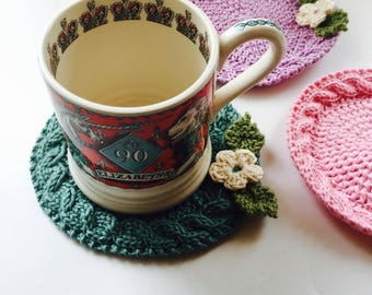 Handmade 100% Pure Cotton Coaster with Cable feature, Made-to-order in your choice of colour