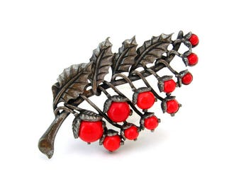 Vintage Christmas Holly Berry Leaf Brooch, Red Glass Fruit Leaves Figural Pin, 1940s Costume Jewelry