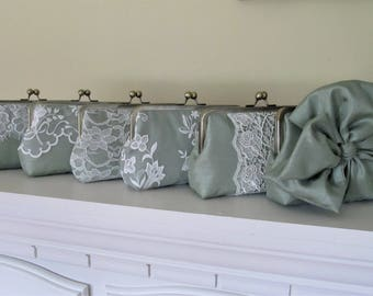 SALE 20% OFF Mis Matched Sage Shantung Bridesmaid Clutches Set of 6,Bridal Accessories,Wedding Clutch,Lace Clutch,Bridesmaid Clutch