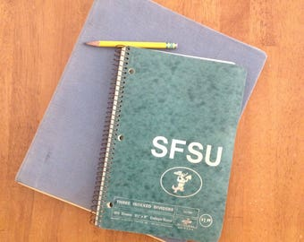 SFSU san francisco state university vintage spiral-bound index notebook 80s 90s green lined paper