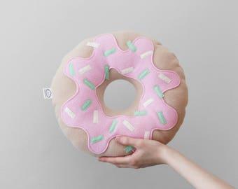 Light Pink Strawberry Donut Plushie, Ready to Ship Pastel Food Fleece Cushion, Kids Room Decor