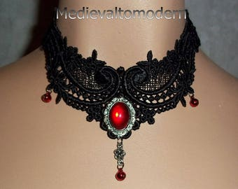 Black Red Bells Gothic Venise Lace Choker by Medievaltomodern