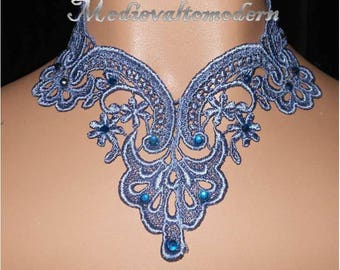 Choker in Venise Denim Dusty Blue Soft Lace Victorian Style Necklace Rhinestones Wearable Art Style Modern Textile Neck Wear