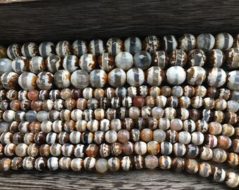 CHOOSE Faceted Etched Agate, Etched Agate beads, Etched Agate, choose size beads, bead strands, gemstones, gemstone bead strands