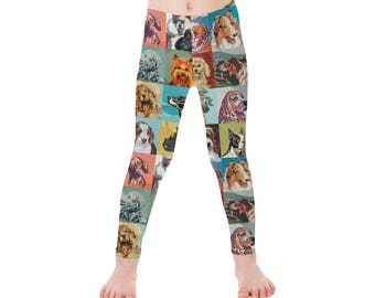Childrens Dog Paint By Number Leggings - dog leggings - PBN dogs - novelty ankle length leggings - dog portraits
