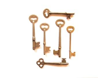 6 Vintage skeleton keys Old keys Vintage keys Antique skelton keys Rustic skeleton keys Key collection Early keys Bargain keys  bit keys #3