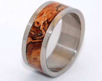 wood ring, Titanium wedding ring, wedding band, wooden wedding ring, men's ring, woman's ring, maple wood, titanium ring - Zone Lines
