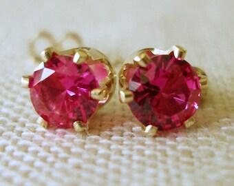 Ruby Earrings, Ruby Studs, July Birthstone, Bridesmaids' Jewelry