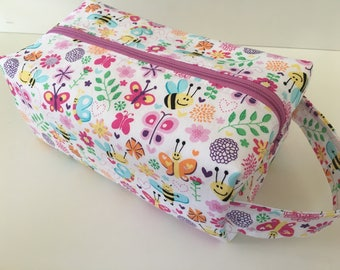 Toiletry Bag Women, Travel Bag, Makeup, Floral Garden Bumble Bee