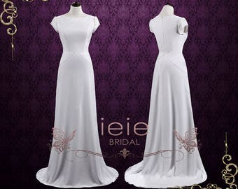 Simple Elegant Sheath Wedding Dress with Pearls   Natalie