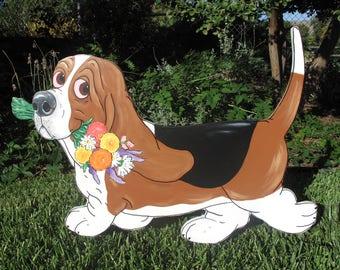 "Hand Painted Basset Hound Yard Art - ""Gertie with a Bouquet"""