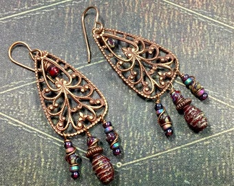 Cranberry Boho Earrings, Brass Filigree Bohemian Earrings, Dangle Earrings, Cranberry Earrings, Hippie