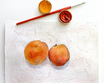 Apricot Watercolor Painting- Original Watercolor on Paper- 6x9- Red, Orange, White- Fruit- Still Life- Two Apricots