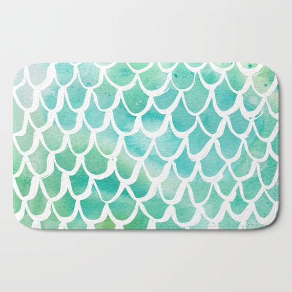 Bath Mat - Aqua Bath Mat - Mermaid Bath Mat - Bath Rug - Shower Mat - Watercolor Rug - Aqua Rug - Scallop Rug - Turquoise Mermaid Rug