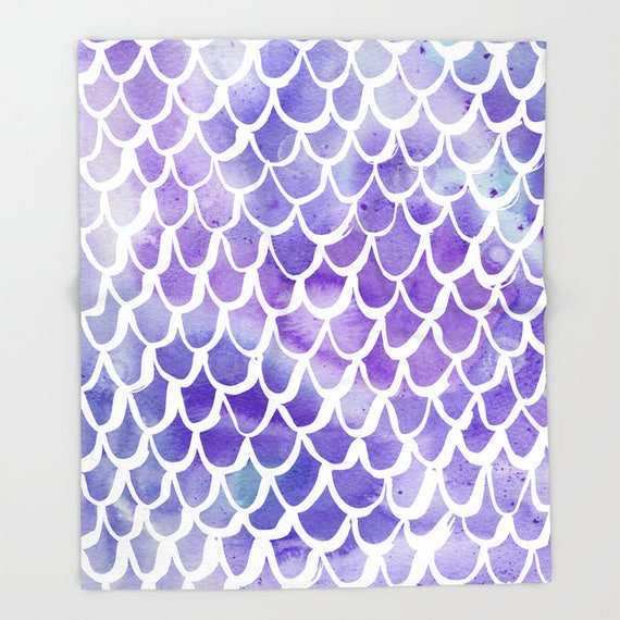 Purple Mermaid Baby Blanket . Mermaid  Baby Blanket . Purple Watercolor Baby Blanket . Fleece Baby Blanket . Mermaid Blanket . Purple Throw