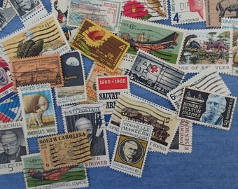 50 USA Used Cancelled Postage Stamps, Vintage 1960's, 1970's, Commemoratives, Free US Shipping