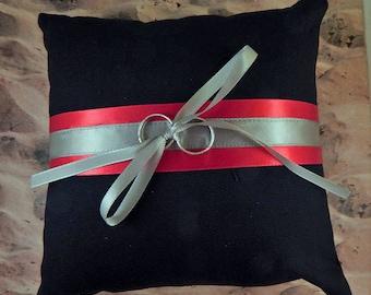 Fire fighter Black Red Satin Gray Satin Wedding Ring Bearer Pillow