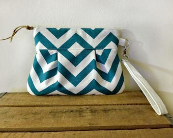 Pleated Chevron Wristlet/ Pouch/ Clutch// Nautical stripe / Teal /White color-READY to Ship-