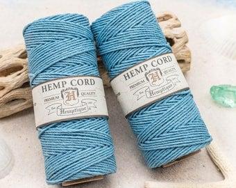 Light Blue Hemp Cord,  Blue Hemp Twine, 1mm, 205 Feet Spool, Jewelry Cord  -T11