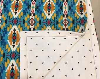 Geometric crib quilt, Cotton Crib Quilt, crib size quilt, baby quilt, nursery crib quilt, aztec crib quilt, turquoise crib quilt,
