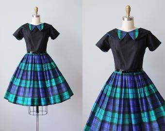 50s Dress - Vintage 1950s Dress - Black Green Indigo Plaid Silk Princess Seam Party Dress XS - Rogue and Rascal Dress