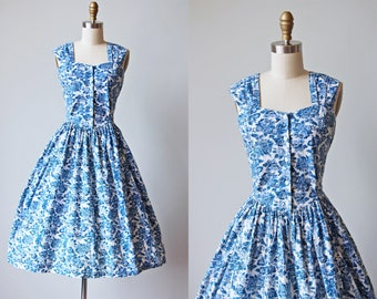 80s Dress - Vintage 1980s Dress - Blue and White Rose Print Cotton Sundress L - Fine China Dress