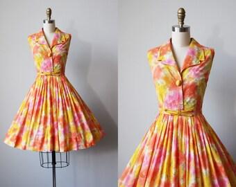 50s Dress - Vintage 1950s 1960s Dress - Cotton Voile Citrus Tropical Floral Full Skirt Sundress w Bow Belt S - Sherbet Dress