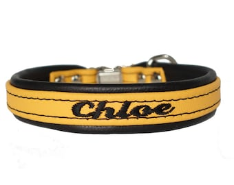 Soft Leather Dog Collar Custom Embroidered Soft Padded Leather Lining One Inch Width Tapered down to five eighth inch Side Release Buckle