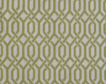 "Geometric Patterned Matelassé Kasmir Fabric Remnant, 55""Wide x 25"",Lemongrass and Cream,Upholstery,Pillows,Bags,Craft Use.Free Shipping."