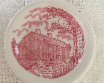 Antique Red Staffordshire Transferware Butter Pat Longfellows Wayside Inn, Pink Transferware Colonial Home Prairie Traditional Home Decor