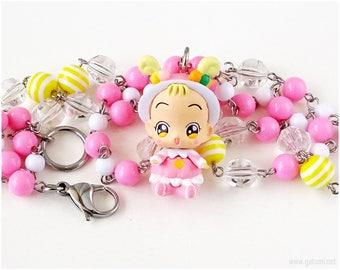 Ojamajo Doremi Hana Chan Fairy Kei Necklace, Pink Jewelry, Sweet Lolita, Kawaii, Magical Girl