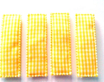 25pcs Yellow Gingham Rectangular Hair Clip COVERS size 55mm