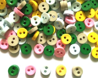 100 pcs  Tiny Buttons micro buttons 2 holes size 6mm Dark Green white yellow dark green