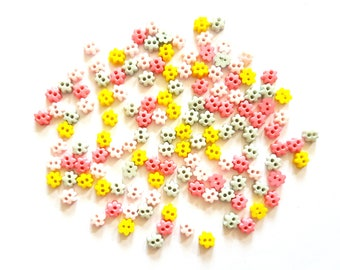 100 pcs  Cute flower buttons size 6 mm Mix light pink dark pink yellow light blue