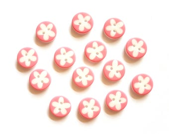 30pcs Cute Flower Printed Round Buttons 2 Holes Size 16mm Pink Color